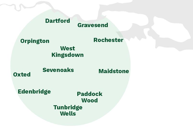 Our areas of work across Kent. Dartford, Gravesend, Maidstone, Tunbridge Wells, Edenbridge